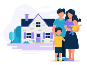 Happy family with house. Concept illustration for mortgage, buying house, real estate. Vector illustration in flat style